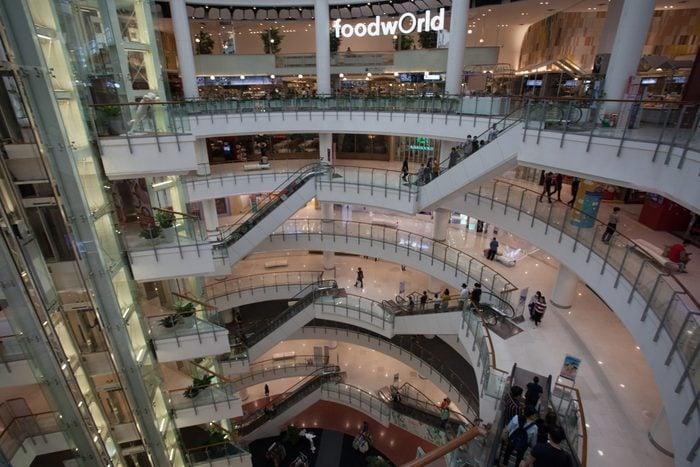 Empty shopping mall during the corona virus pandemic. New...