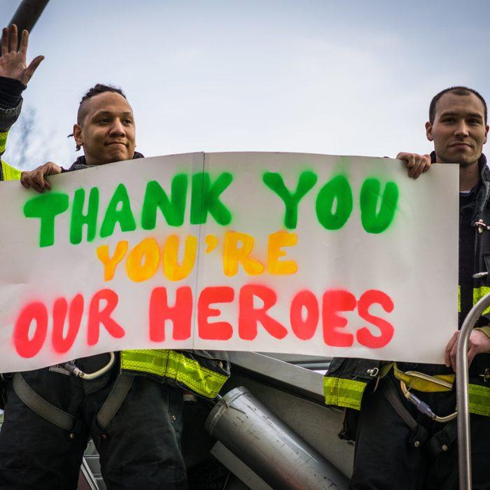 New York City firemen show their appreciation for healthcare