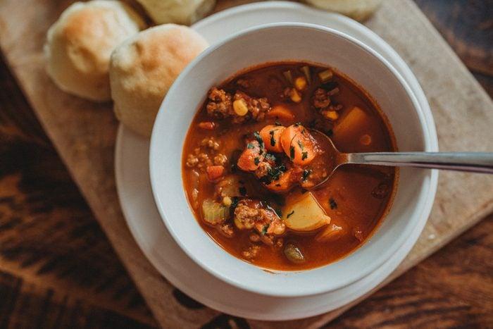 Warm Vegetable Homemade Soup Dinner