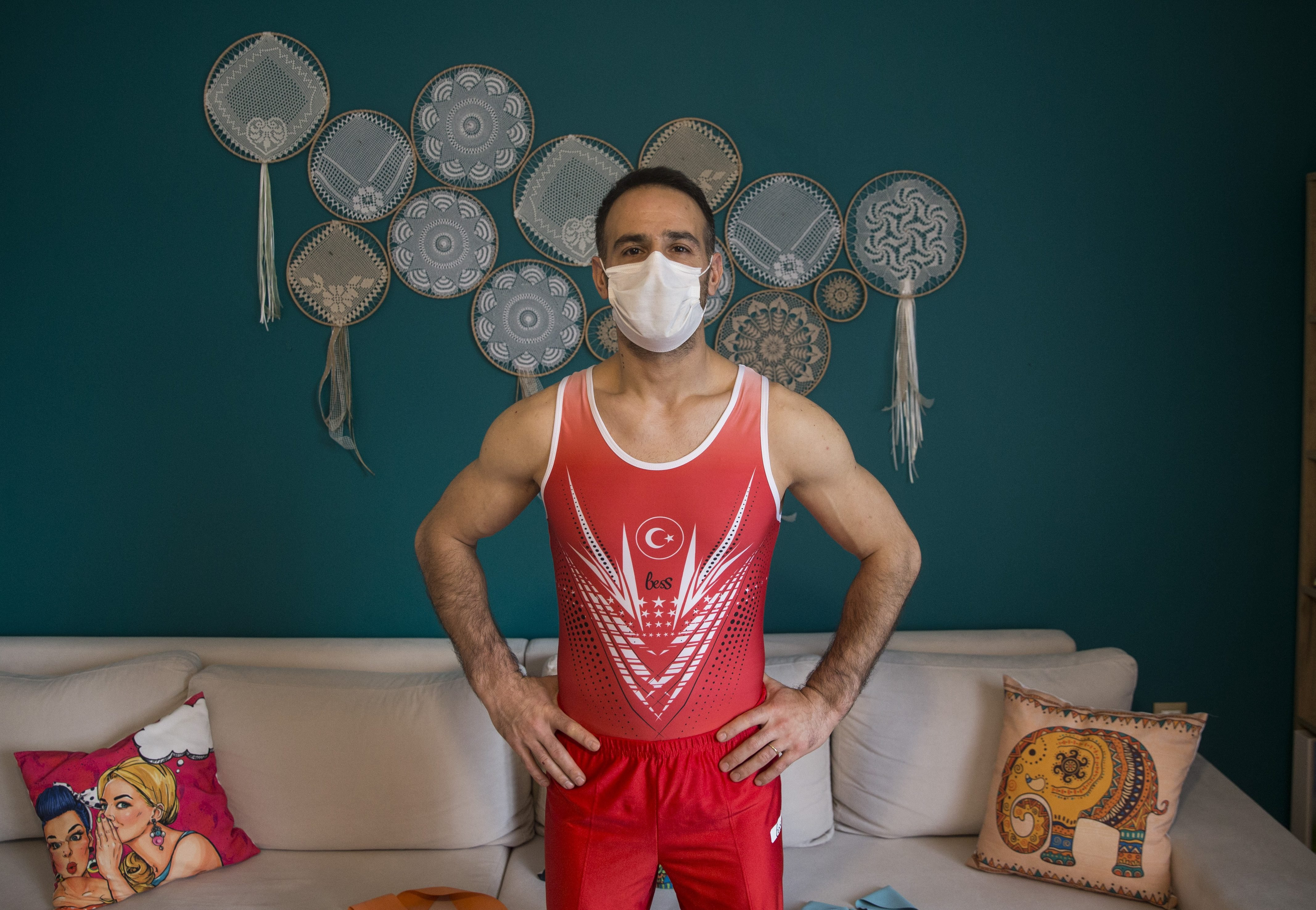 Turkish athlete trains at home during Covid-19 pandemic