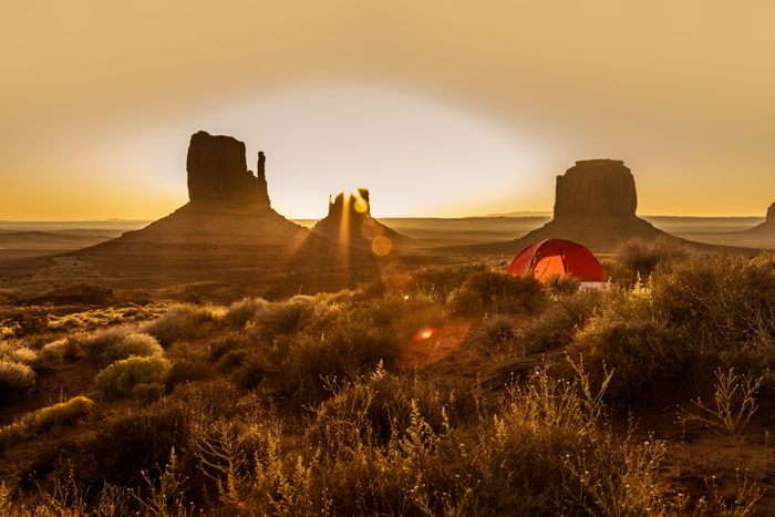 Camping With A Tent In The Monument Valley