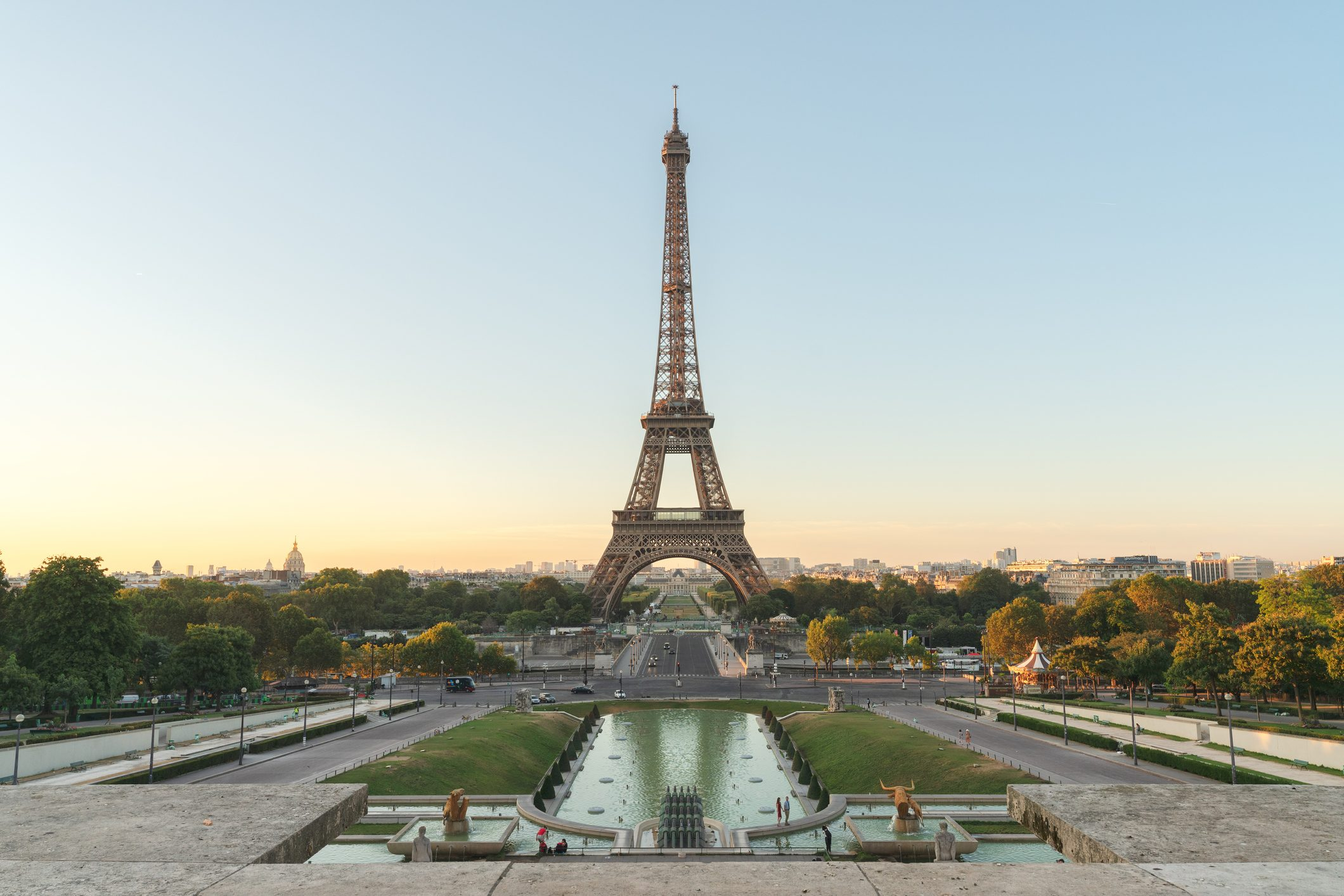 View of Eiffel Tower from Palais de Chaillot, Paris, France