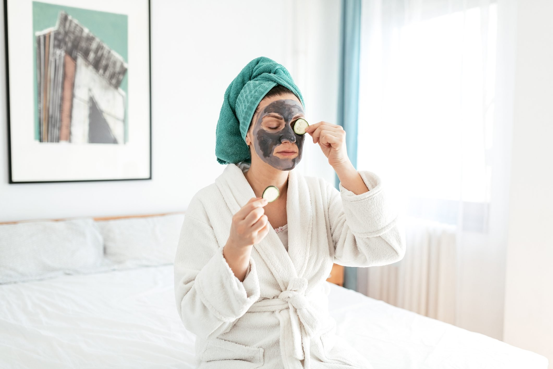 Woman enjoys beauty treatment at home spa