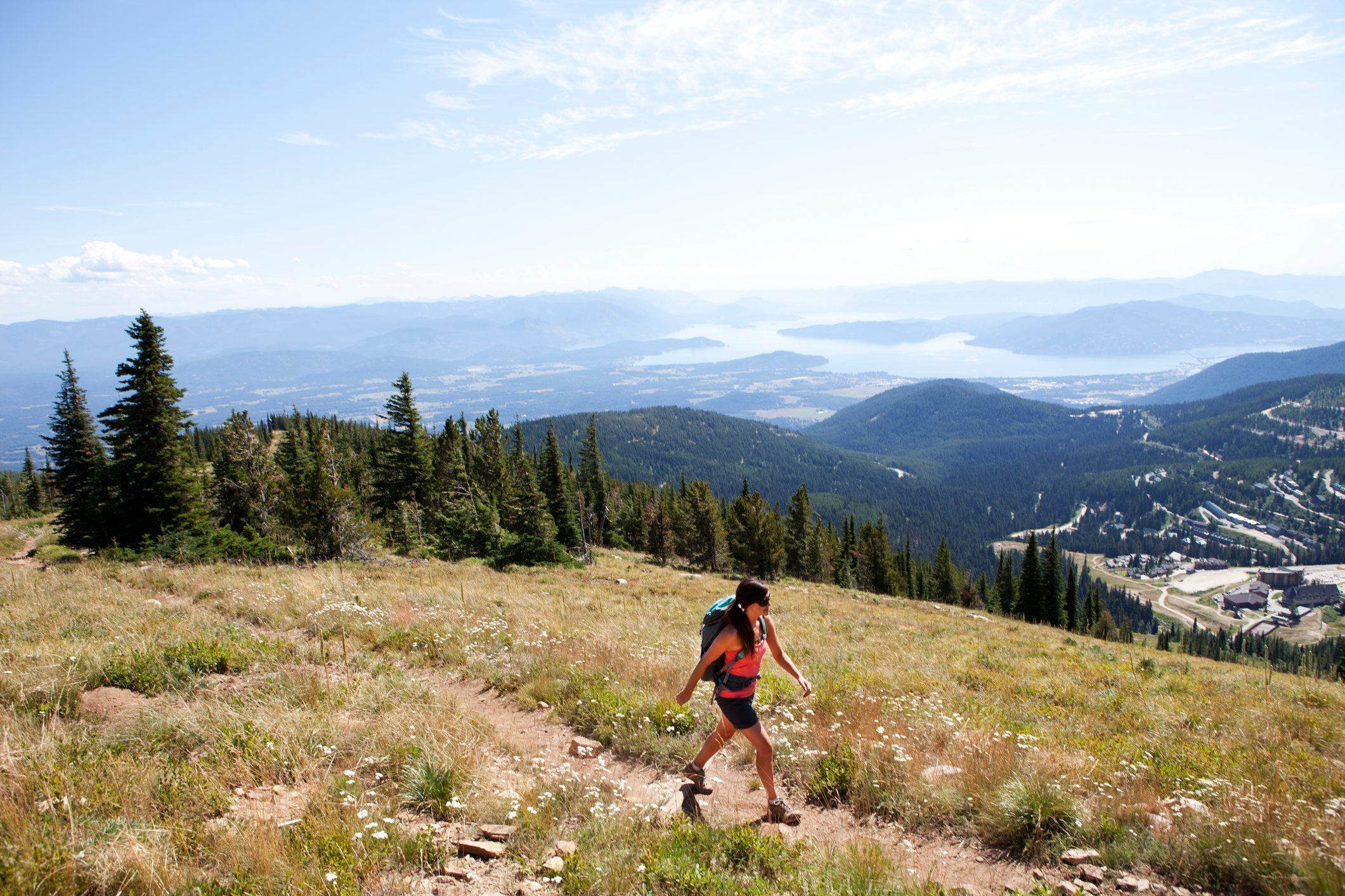 Woman hiking in the summer