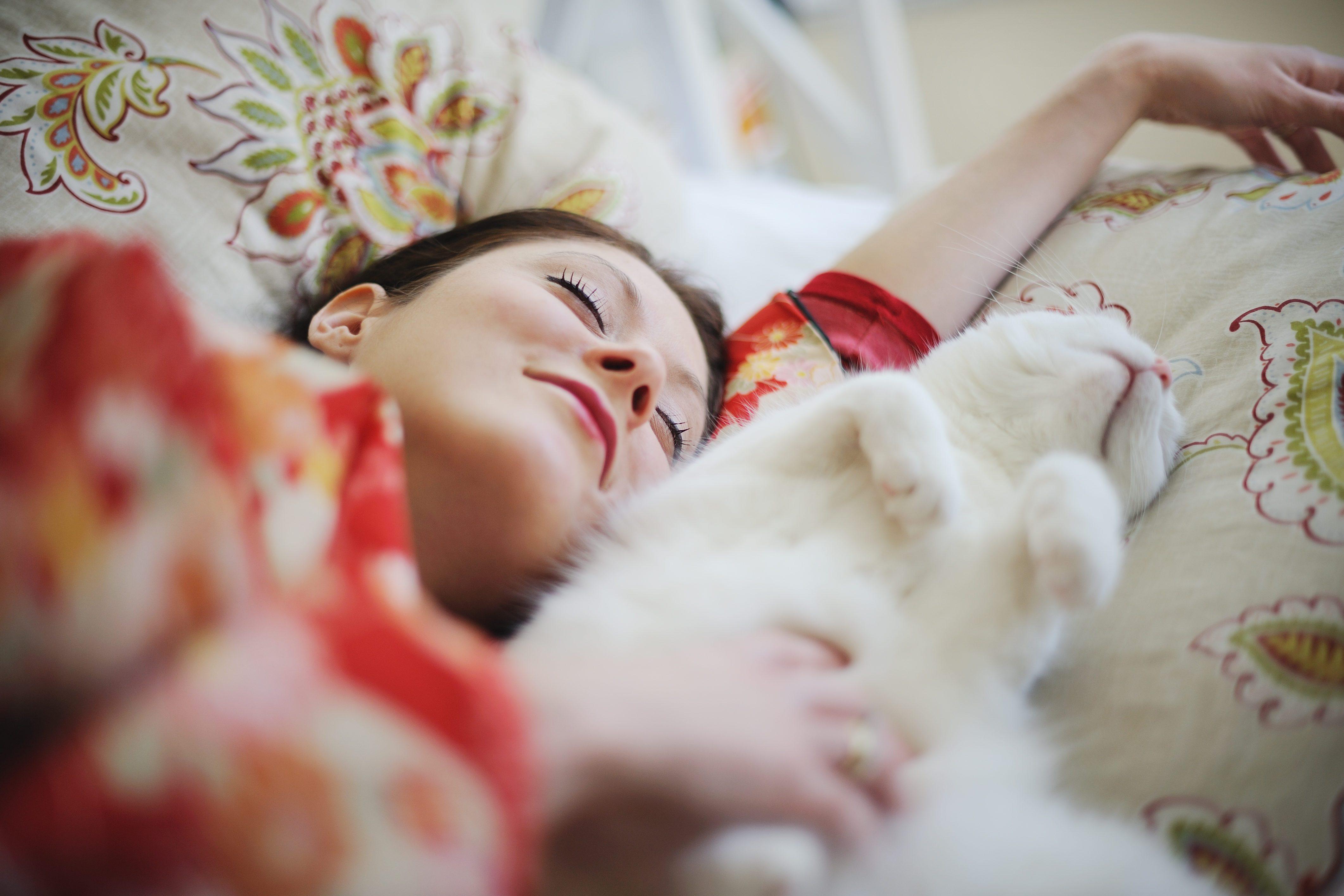 Sleeping woman in kimono with cat