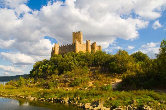Almourol castle against cloudy sky
