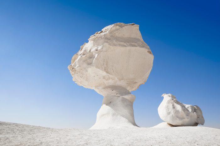 Chicken & Mushroom rock formation in the White Desert of Egypt