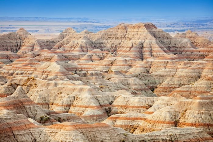 "USA, South Dakota, Badlands National Park, Beautiful """"striped"""" rock formation"