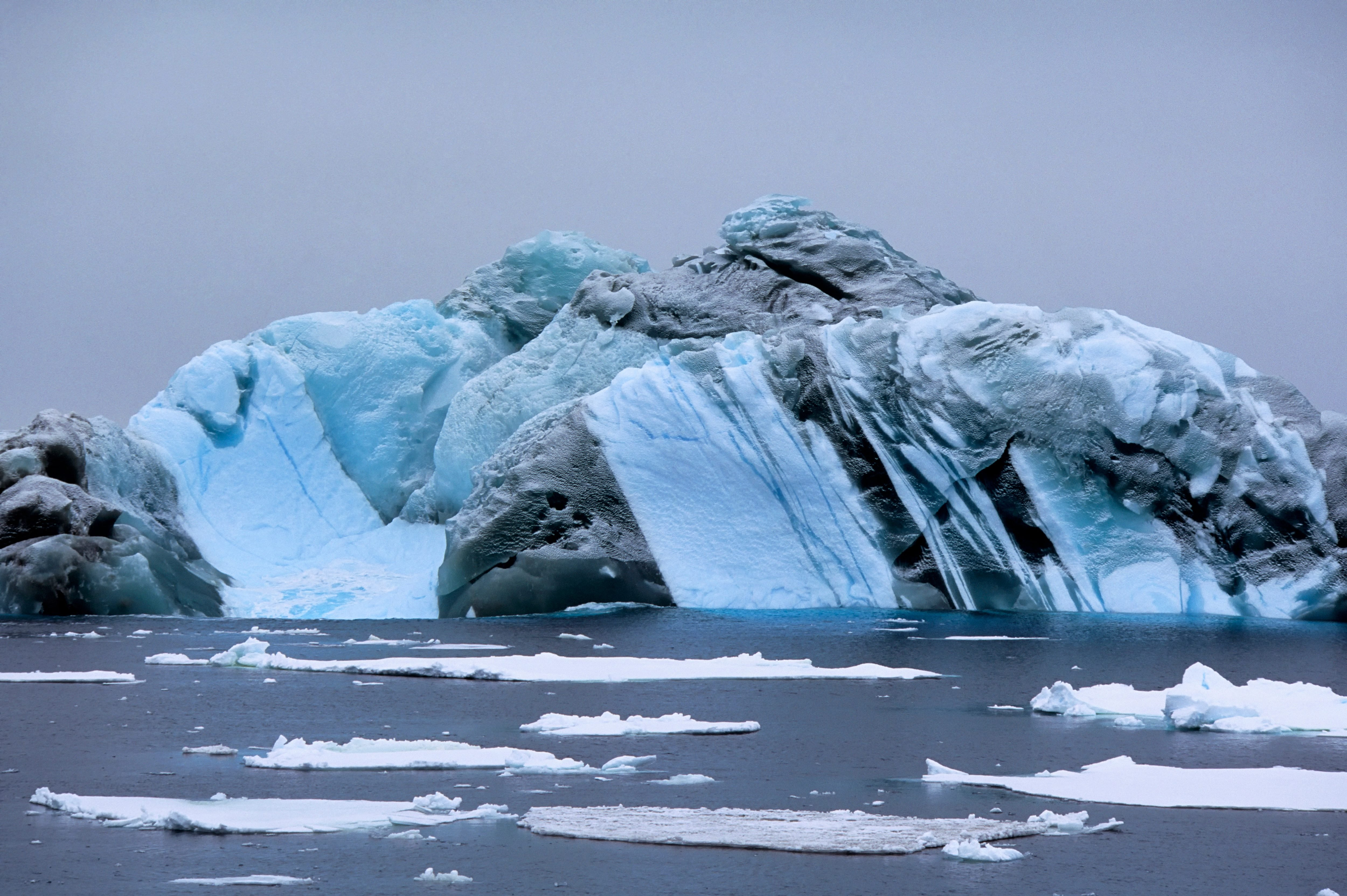 Antarctica, Near South Orkney Island, Marbled Iceberg...