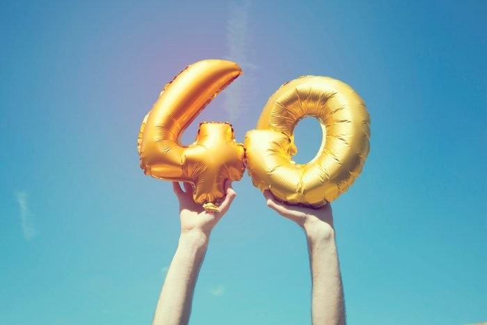 Gold number 40 balloon