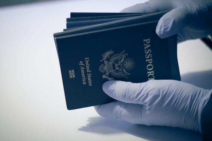 Unrecognizable person, having american passport