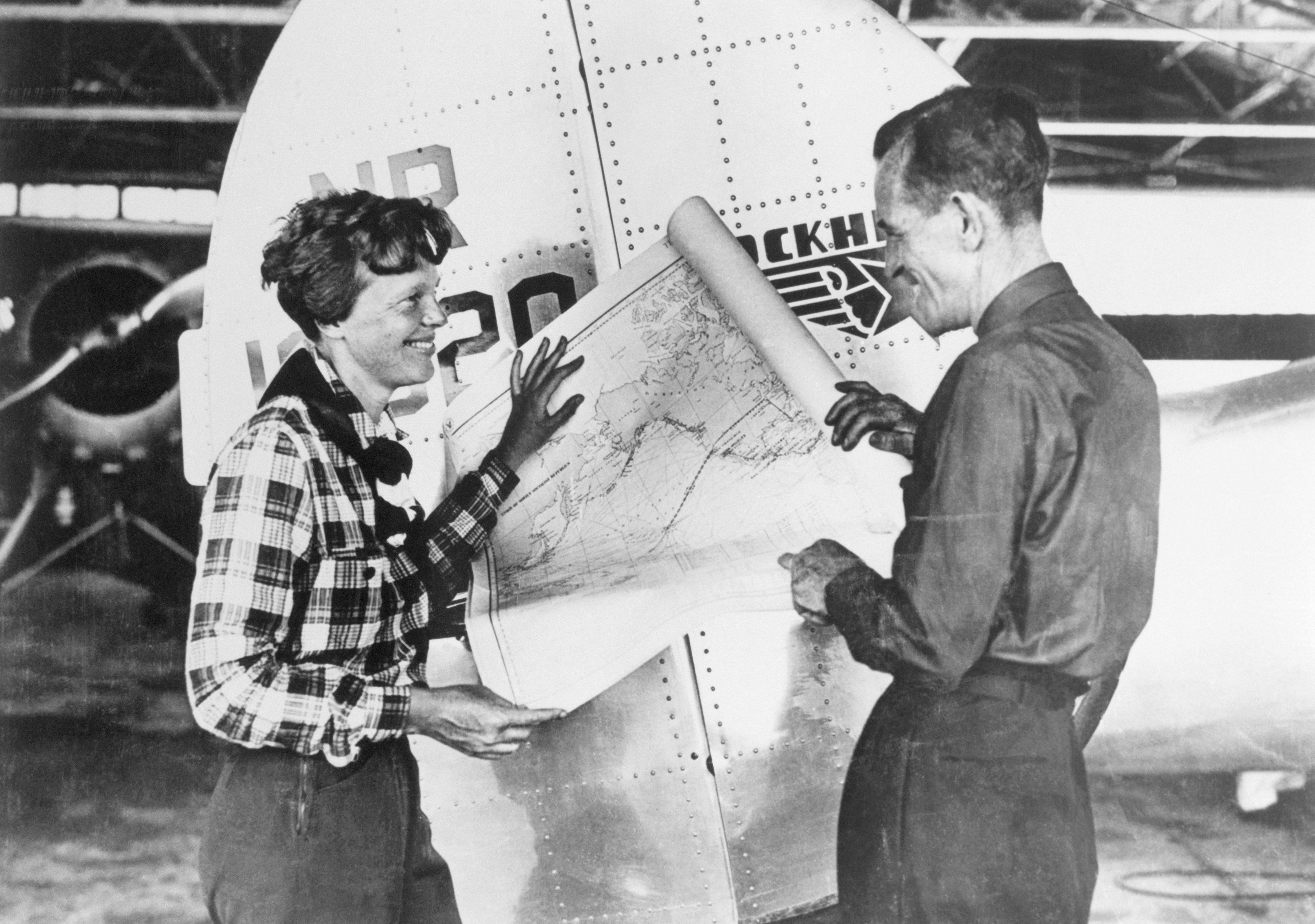 Pilot Amelia Earhart and Navigator Fred Noonan
