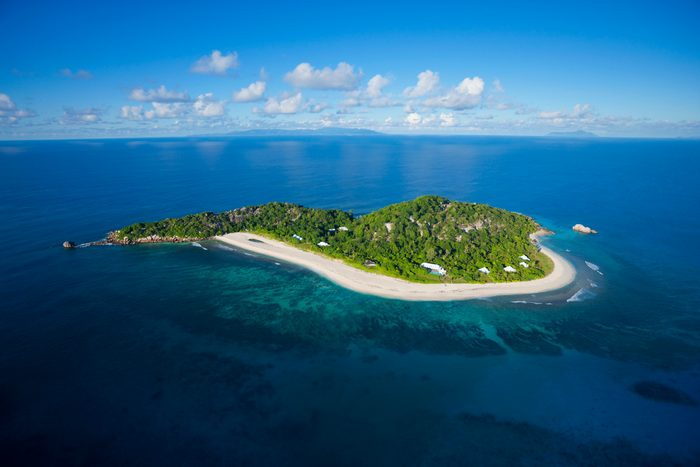 Aerial view of Cousine island.Seychelles