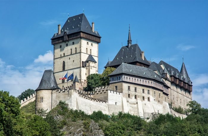 Karlstejn is a large gothic castle founded 1348