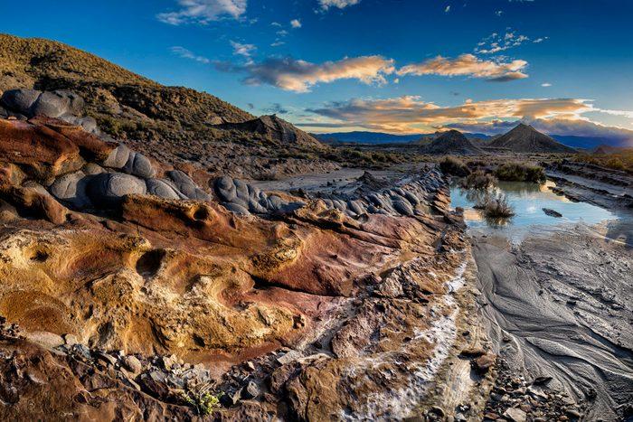 Eroded rock in the desert of Tabernas, Almeria, Sp