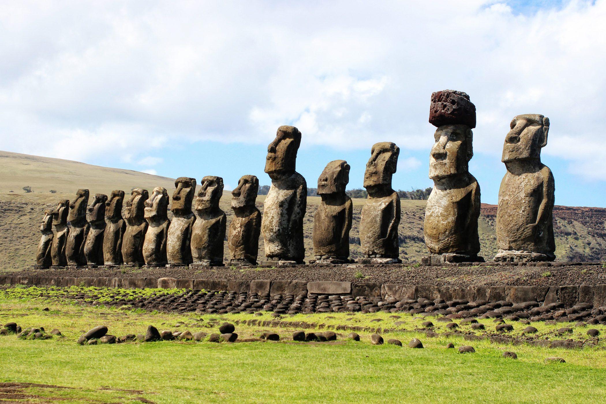 Ahu Tongariki, Easter Island, looking east.
