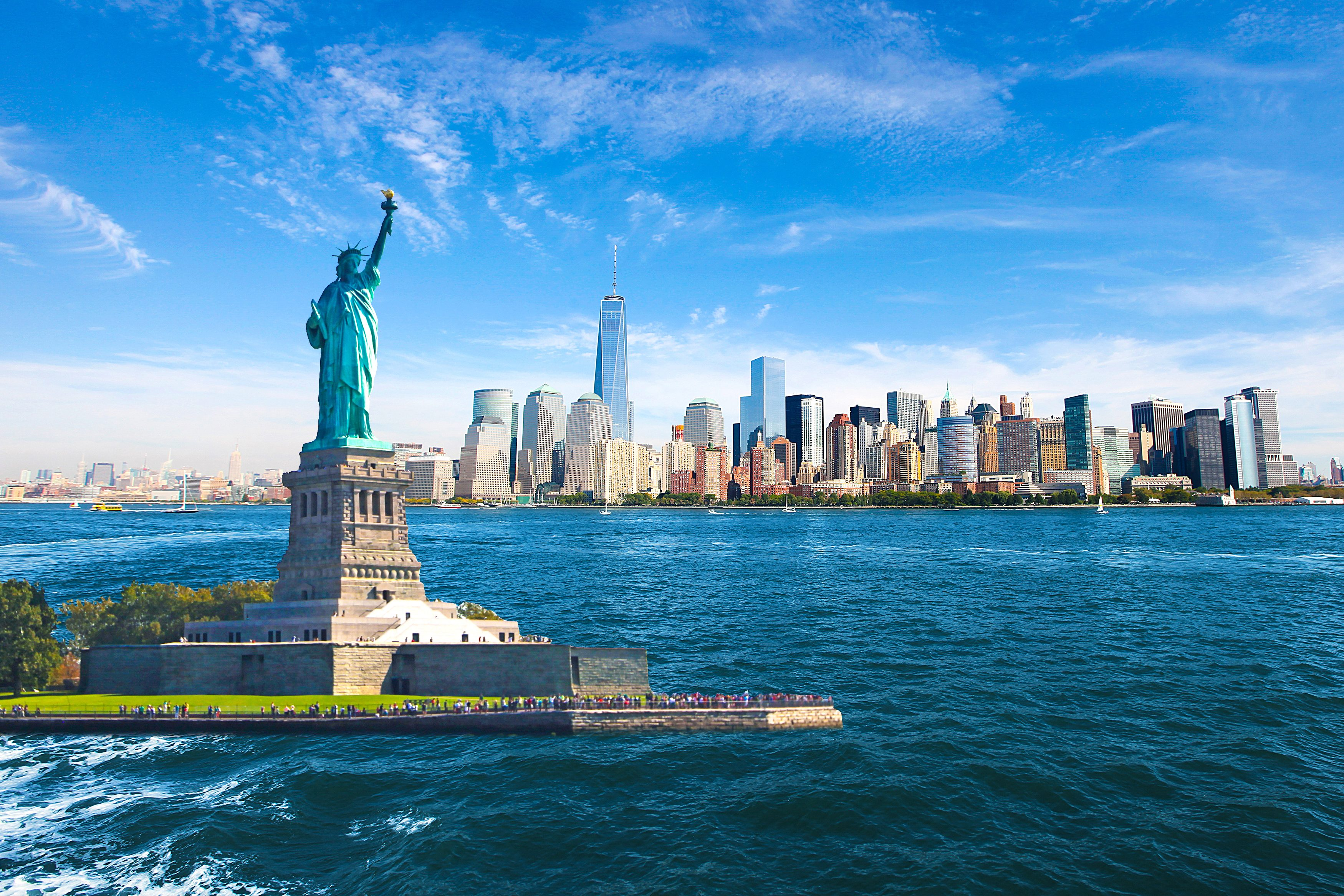 New York City Skyline Statue of Liberty