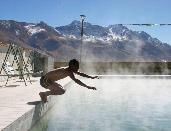 Chinese People Swim In Hot Spring At Yangbajing In Tibet