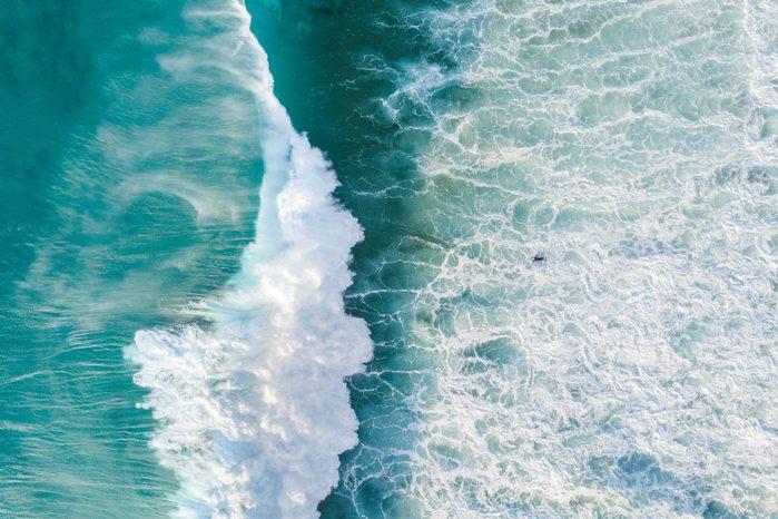 overhead view of ocean waves