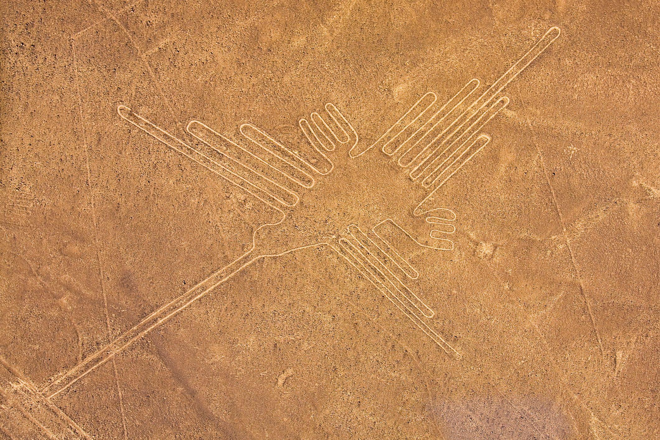 High angle view of Nazca lines, Nazca, Peru