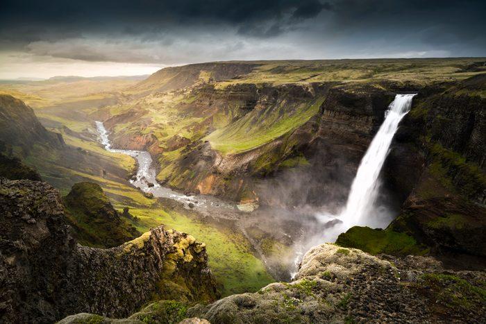 Haifoss waterfall, summer,in Iceland.