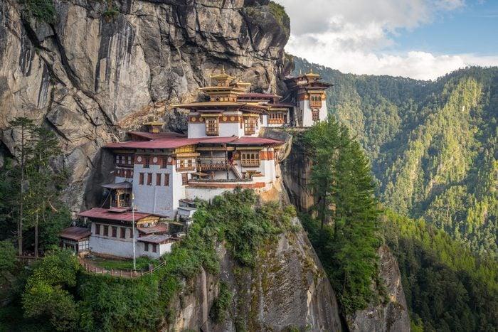 Taktsang monastery, landmark of Paro valley in Bhutan