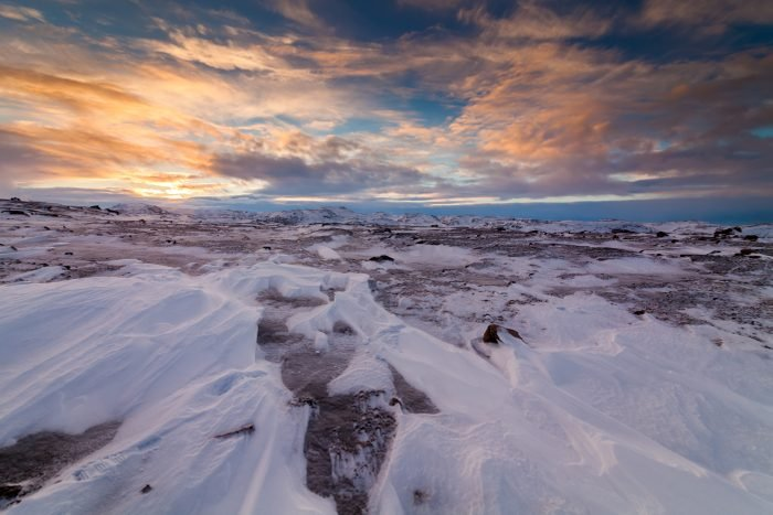 Sunset in the arctic tundra