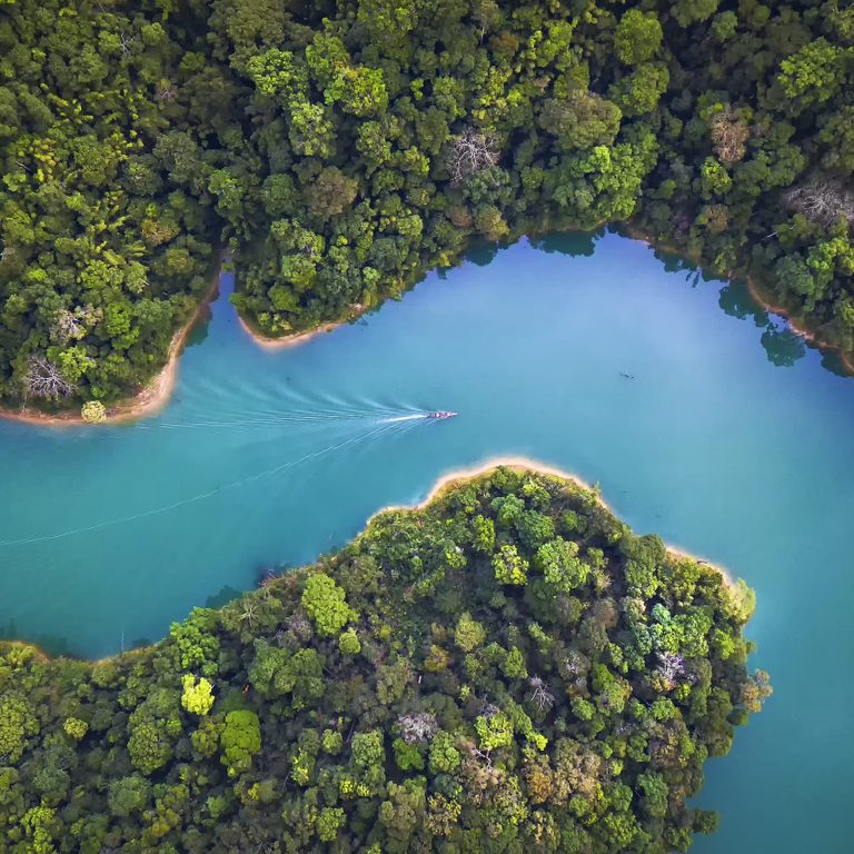 Bird eye view of Surat Thani fly in the morning.