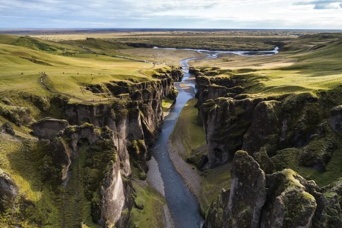 The Fjadrargljufur River Canyon in south Iceland.