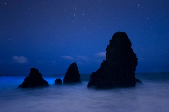 Bioluminescence and meteor at Rodeo Beach