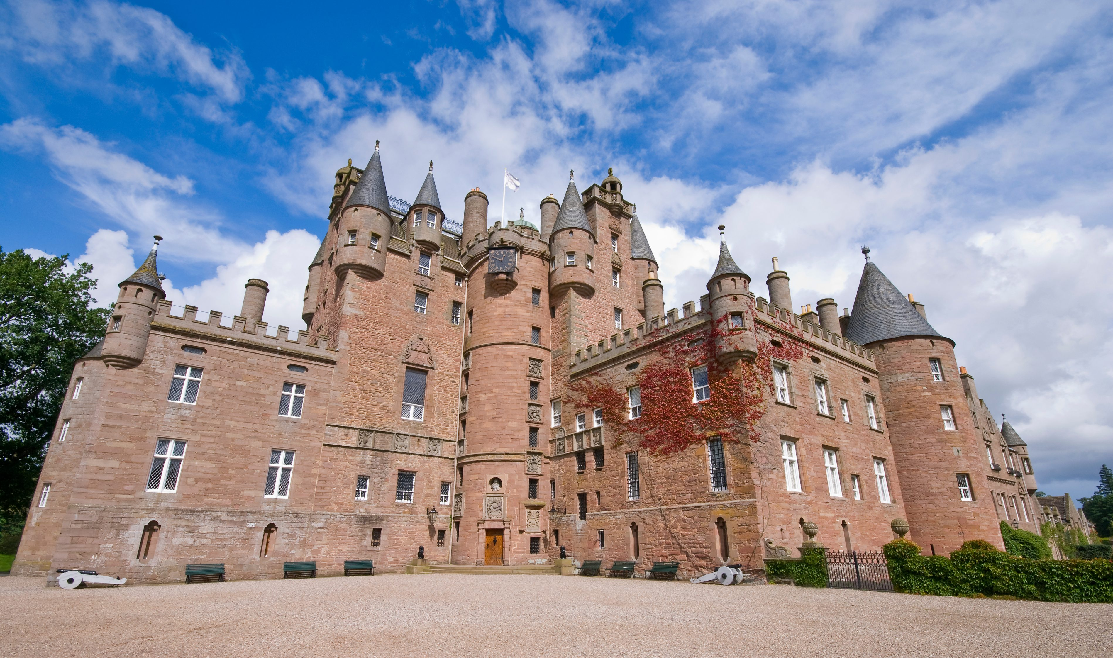 Glamis Castle in Scotland during the day