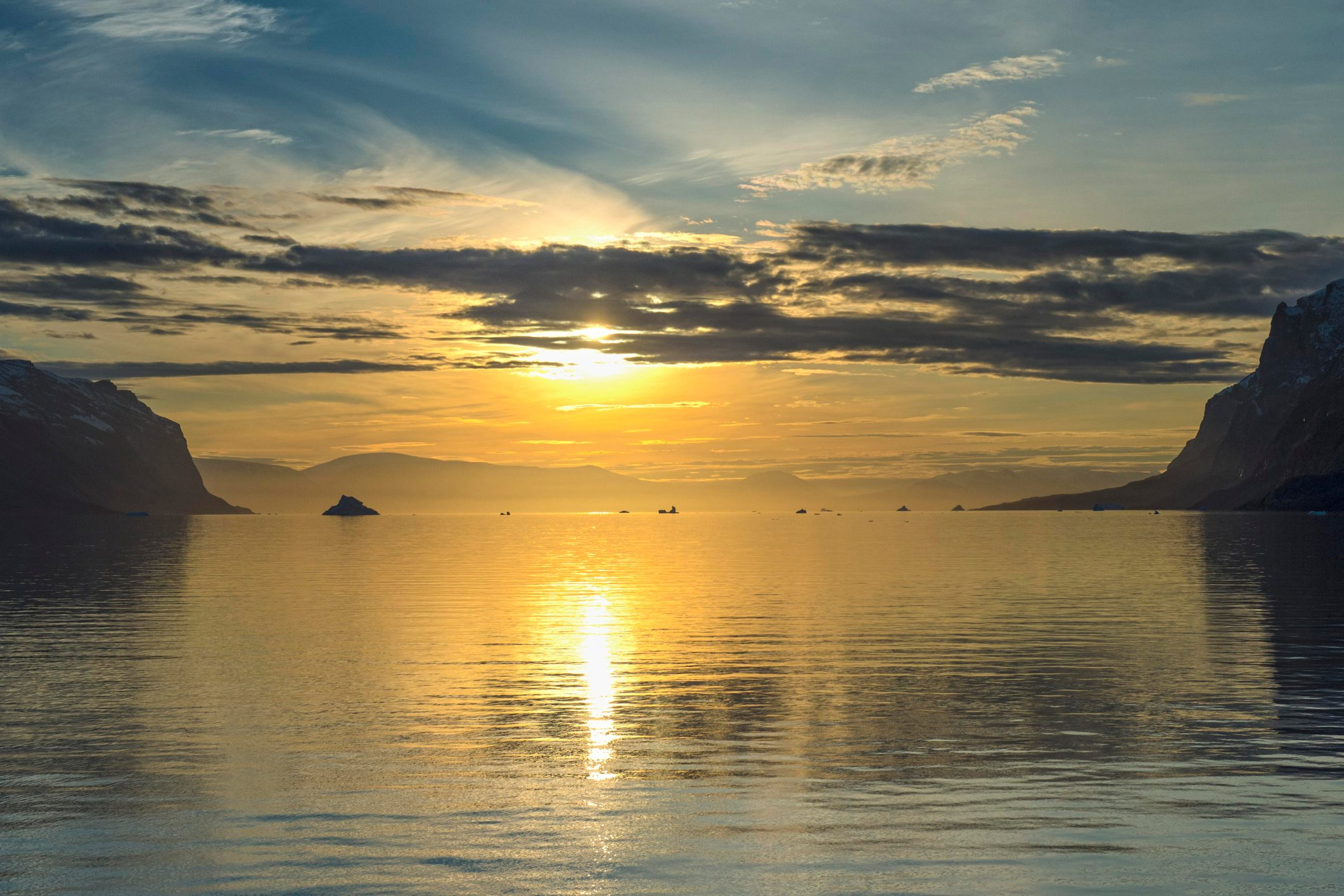 Sunrise, icebergs, Kejser Franz Joseph Fjord, Northeast Greenland National Park, Greenland