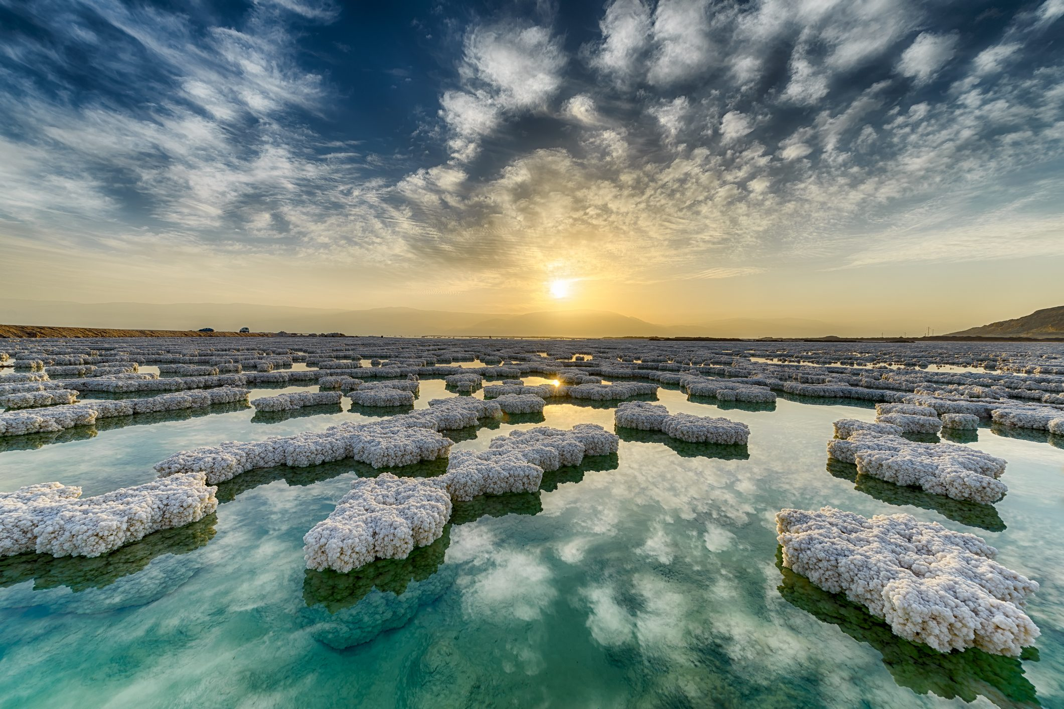 Salt crystals on surface of Dead Sea, Israel