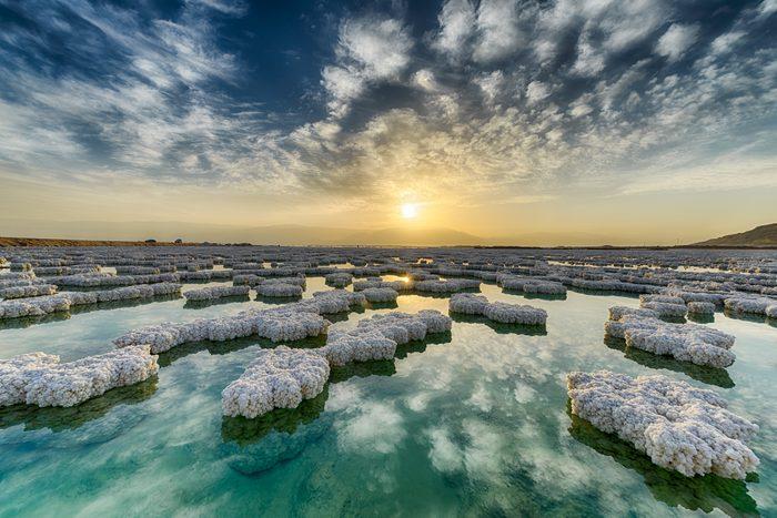 Salt crystals on surface of Dead Sea, Israel