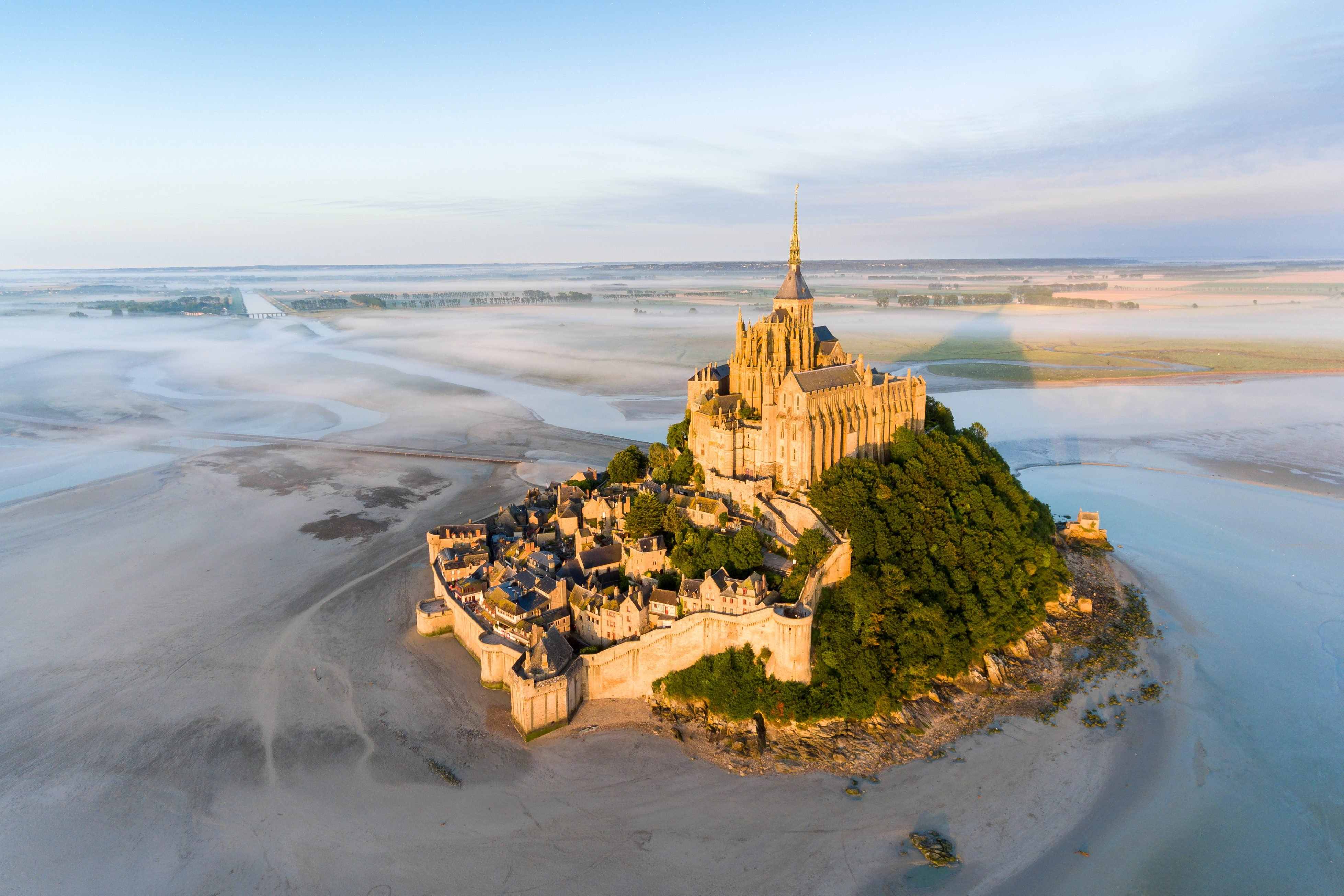 France from the sky : Mont Saint-Michel during the sunrise