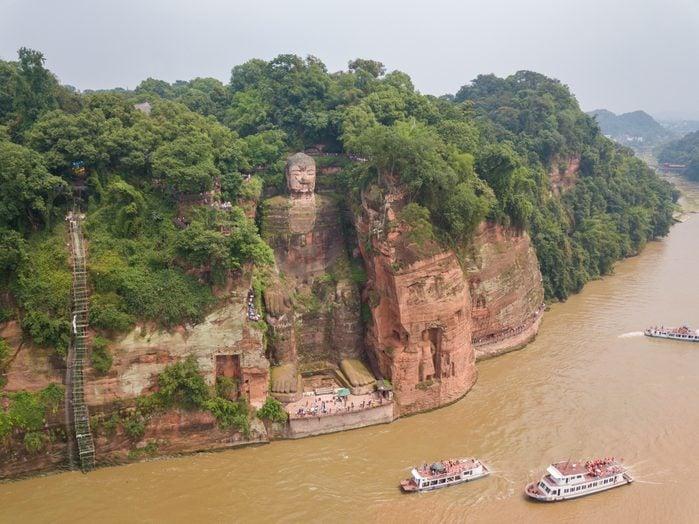 Aerial View of Leshan Giant Buddha, China