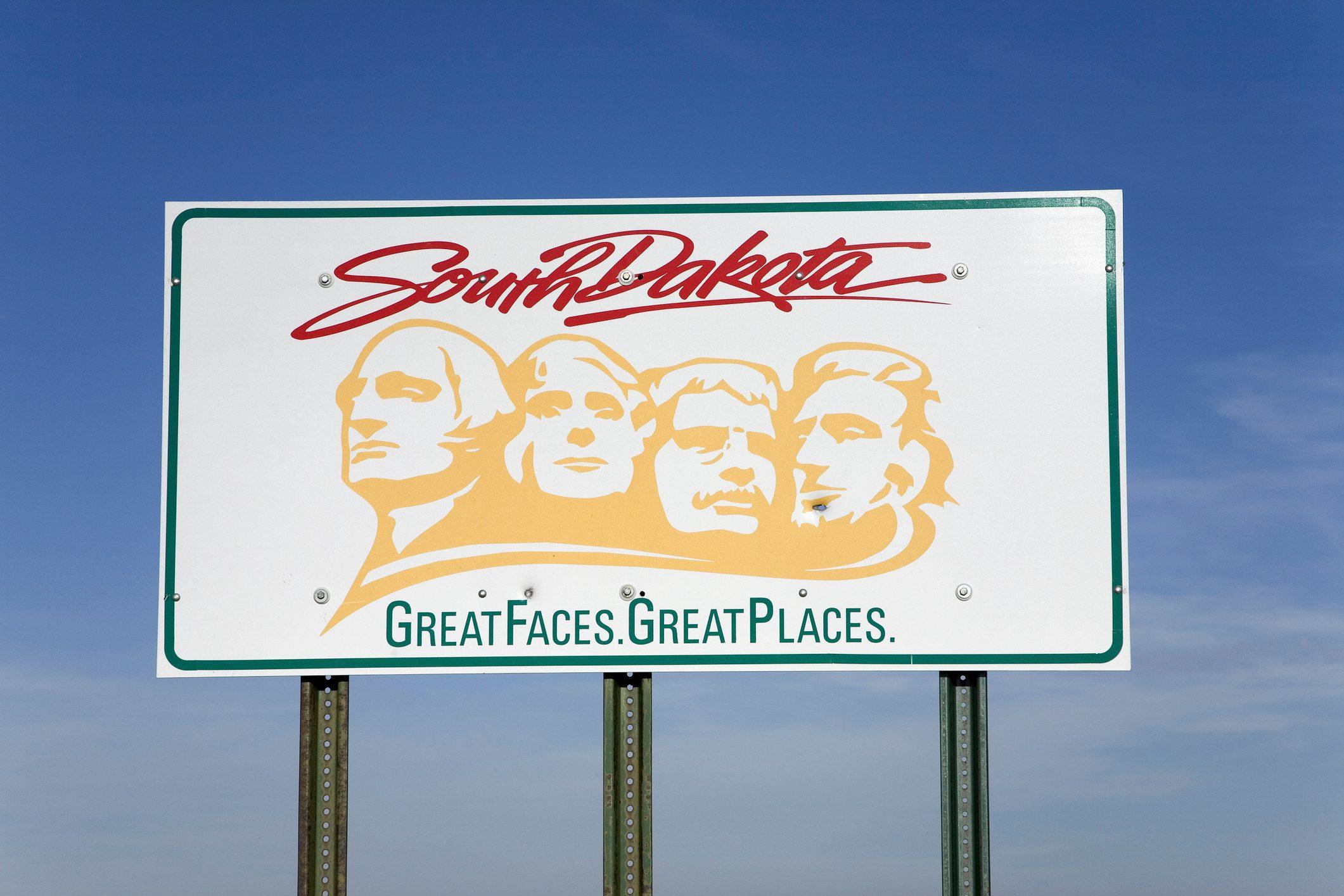Welcoming sign to South Dakota