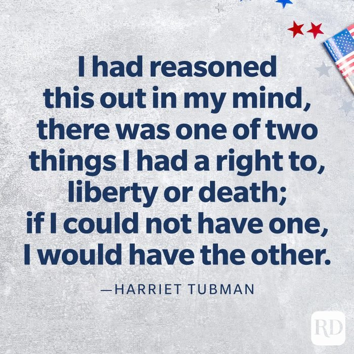 """""""I had reasoned this out in my mind, there was one of two things I had a right to, liberty or death; if I could not have one, I would have the other.""""—Harriet Tubman"""