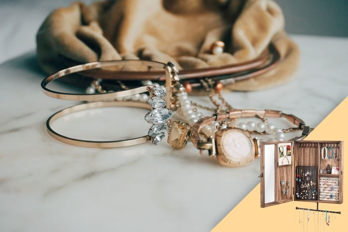 jewelry on a counter with suggested product