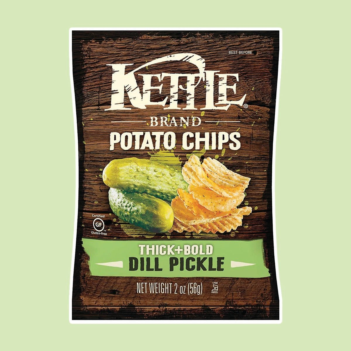 Kettle Brand Thick and Bold Potato Chips, Dill Pickle, 2 Ounce Bags
