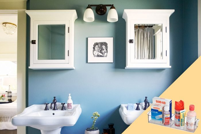 bathroom with double sinks and double medicine cabinets; with suggested product