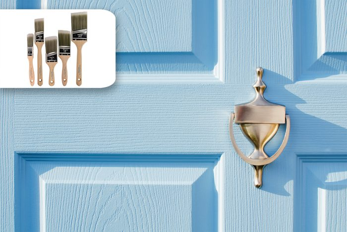 front door close up and paint brushes recommendation