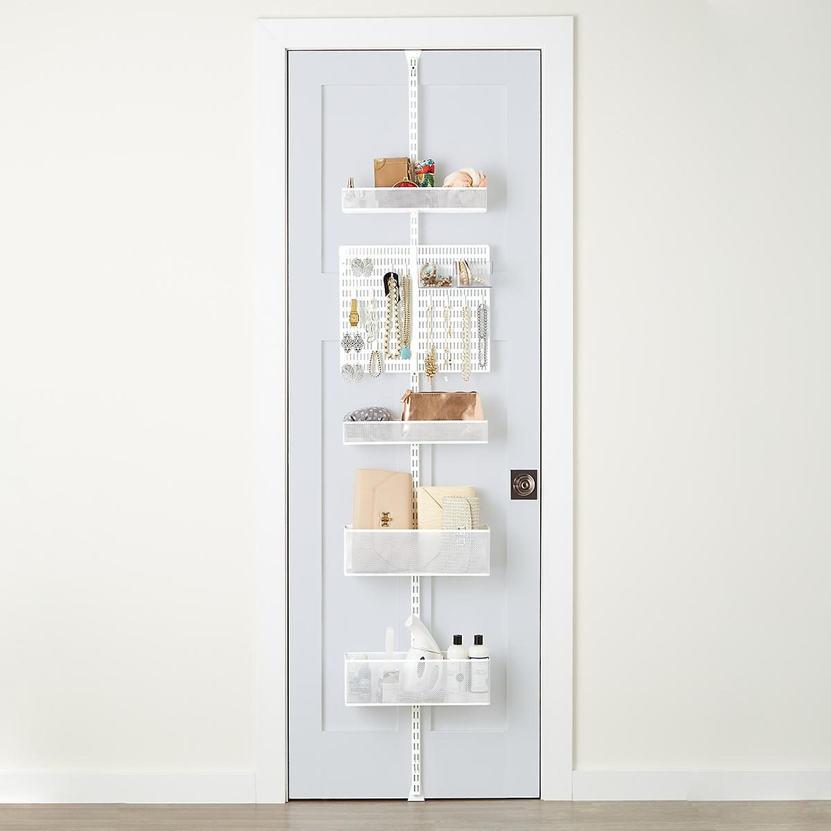 The Container Store White Elfa Utility Mesh Closet Door & Wall Rack