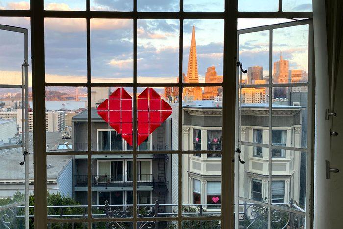 sticky note hearts on the windows