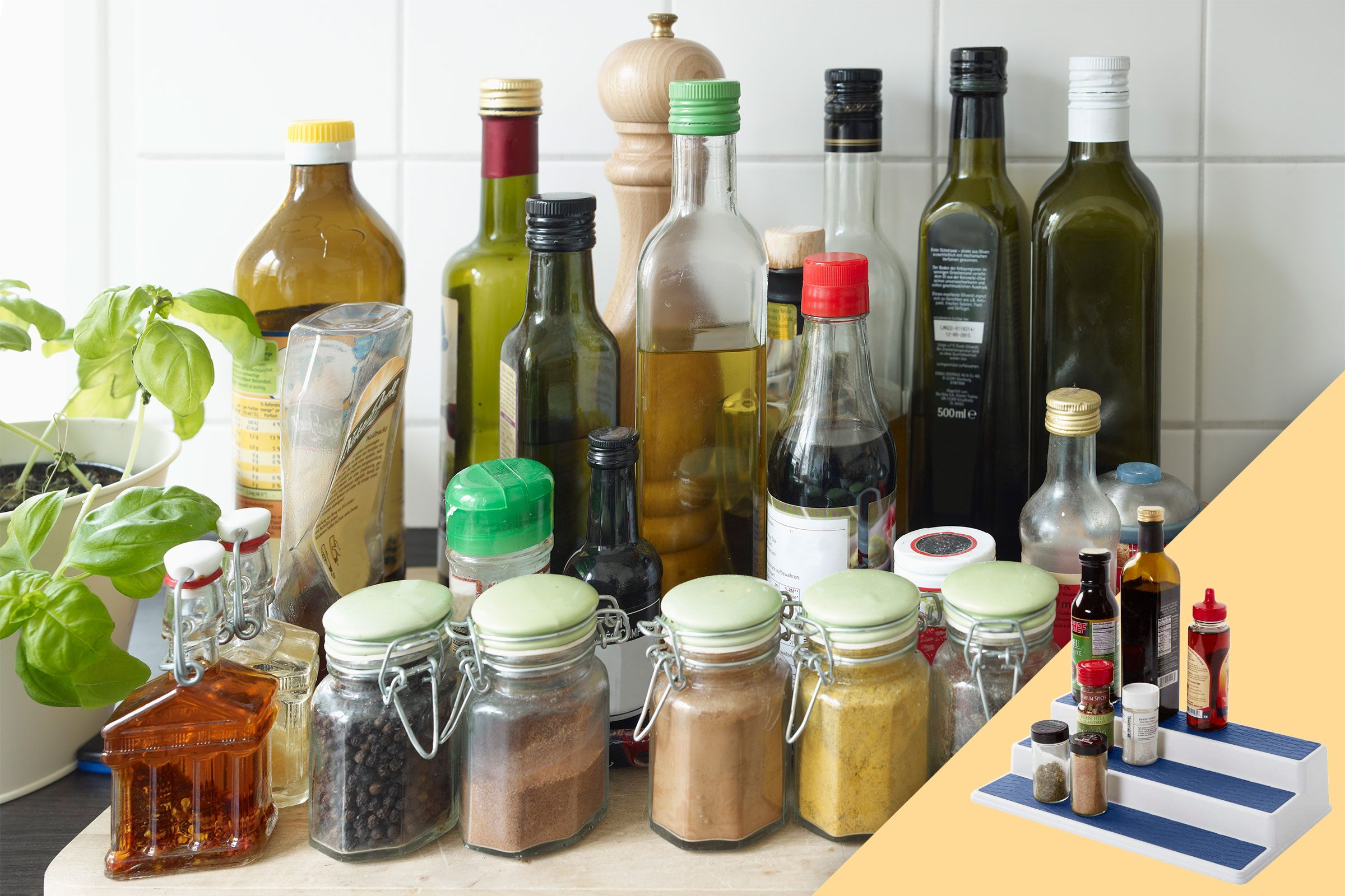 spices and bottles on the counter; with suggested product