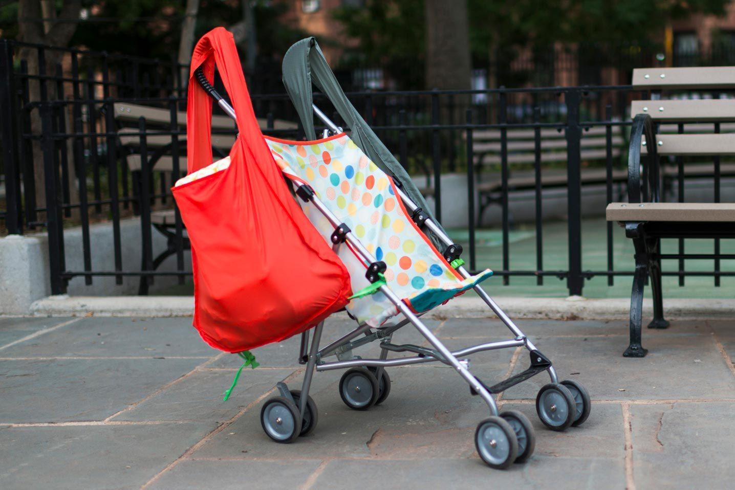 sureshop bags on stroller handles