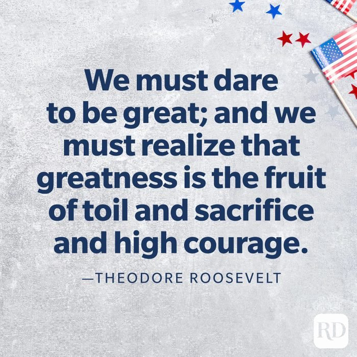 """""""We must dare to be great; and we must realize that greatness is the fruit of toil and sacrifice and high courage.""""—Theodore Roosevelt"""