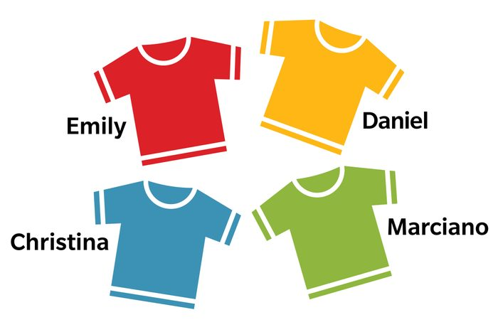 answer illustration: shirts labeled with each name