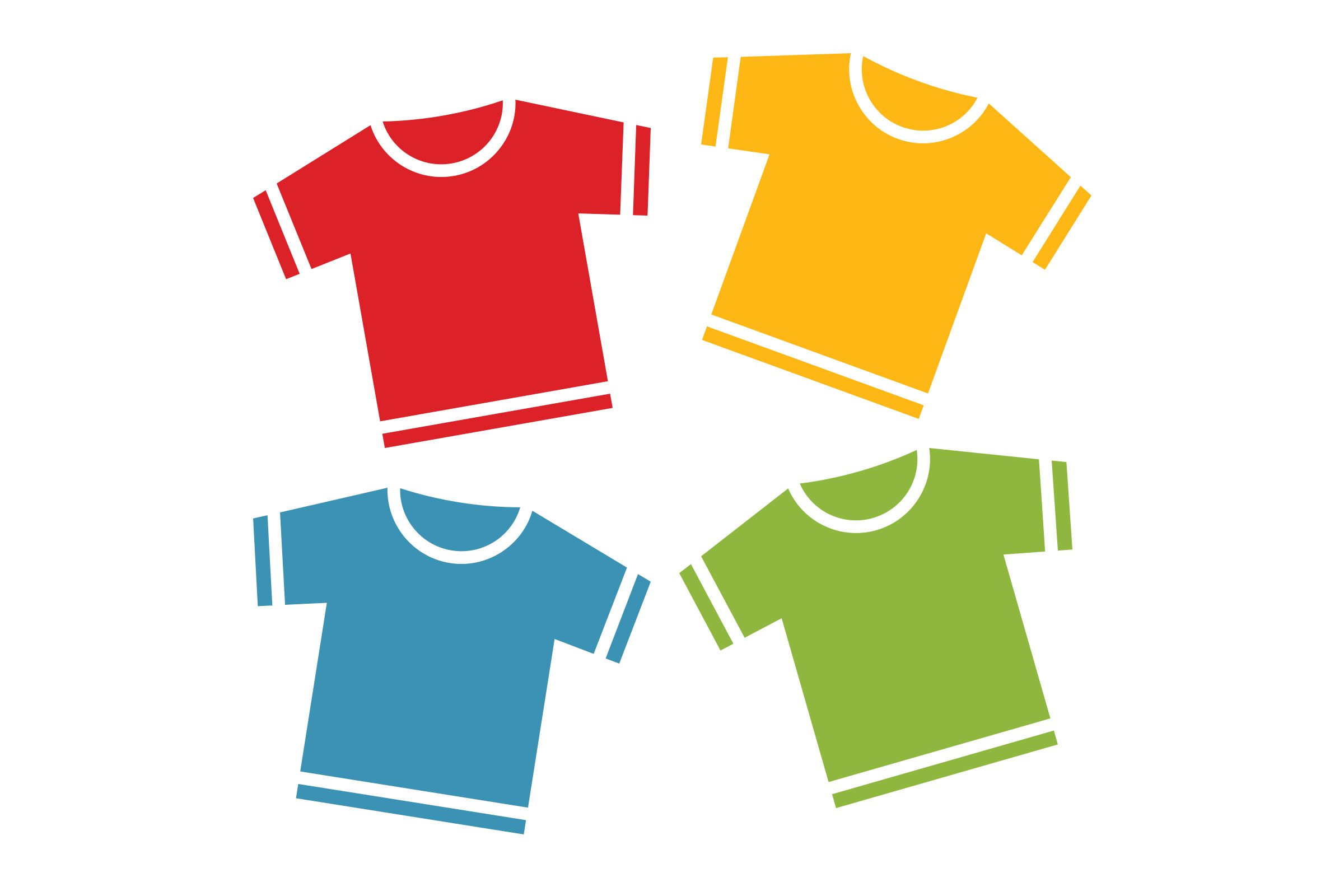 red shirt, yellow shirt, blue shirt, green shirt illustration