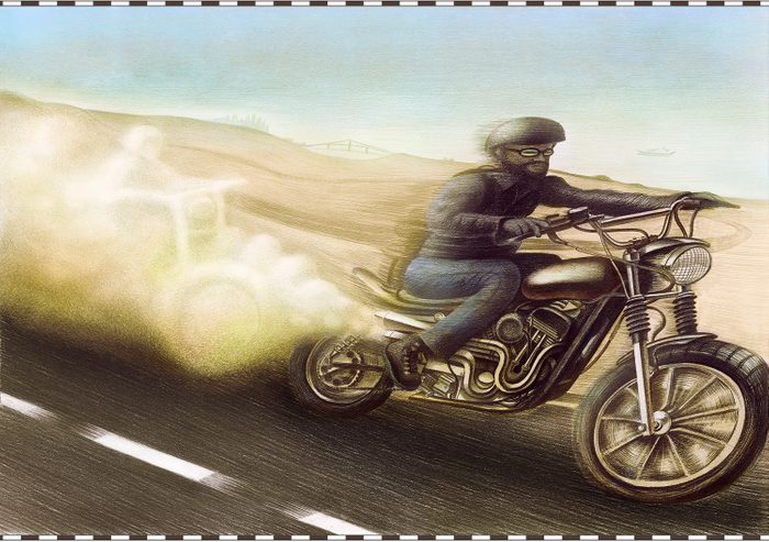 illustration. motorcycle rider with ghostly motorcycle figure in the exhaust.